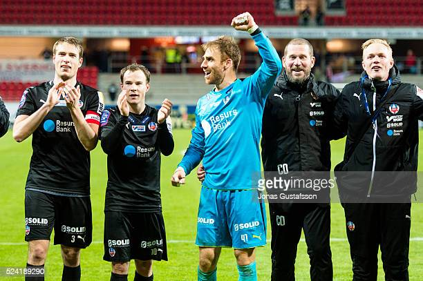 Helsingborgs IF Tomer Chencinski goalkeeper of Helsingborgs IF and teammates celebrates after the victory during the Allsvenskan match between Kalmar...