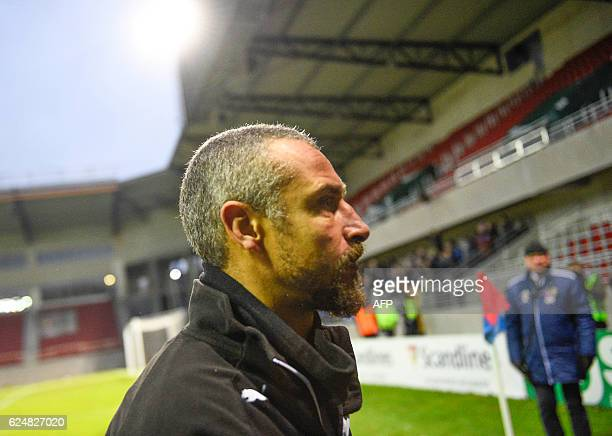 Helsingborg's soccer club Manager and Coach Henrik Larsson leaves the pitch on November 20 2016 after Helsingborg lost the qualifier game against...
