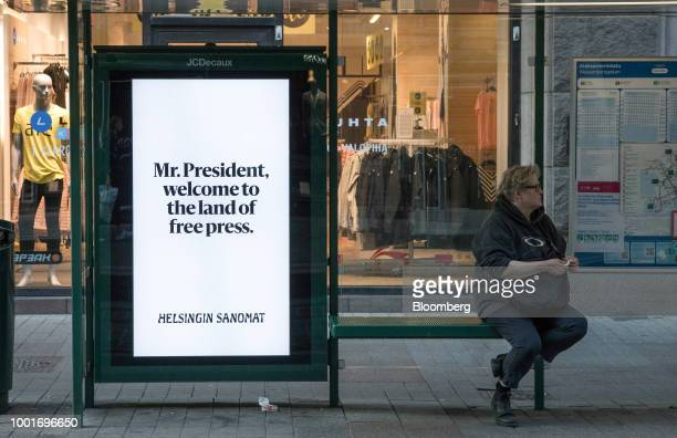 A Helsingin Sanomat newspaper poster stands at a bus stop in Helsinki Finland on Monday July 16 2018 The nation's meteorological institute has issued...