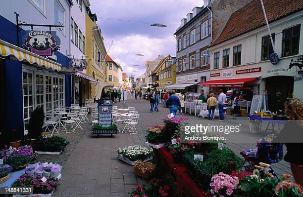 Helsingor's main shopping street.