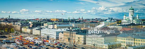 helsinki aerial panorama over cathedral senate square esplanadi landmarks finland - helsinki stock pictures, royalty-free photos & images
