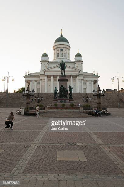 Helsinki Cathedral and Alexander II statue in Finland