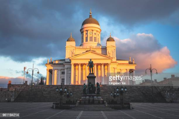 Helsinki Cathedral at dawn with Statue of Alexander II on Senate Square, Helsinki, Finland