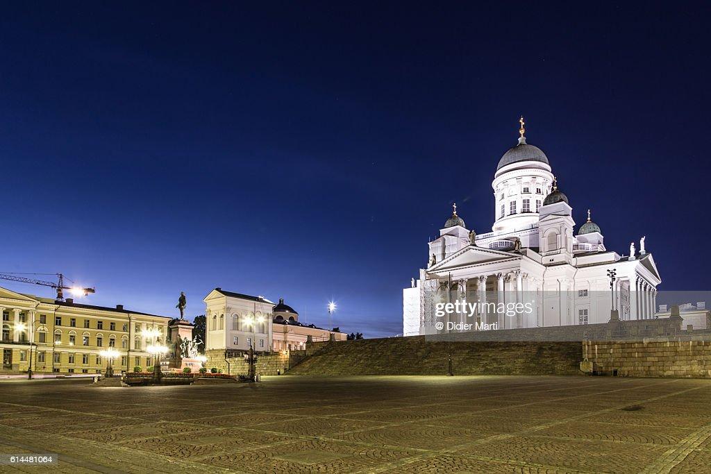Helsinki Cathedral at night in Helsinki, Finland capital city. : Stock-Foto