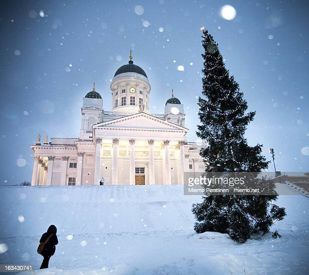 Helsinki cathedral & christmas tree in snow storm