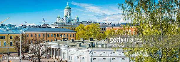 Helsinki Cathedral iconic domes overlooking Presidential Palace panorama Finland