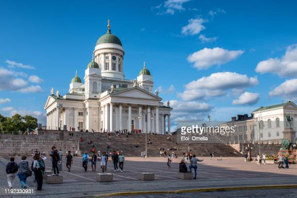 helsinki cathedral (st nicholas' church) on senate square, helsinki, finland - st. nicholas cathedral stock pictures, royalty-free photos & images