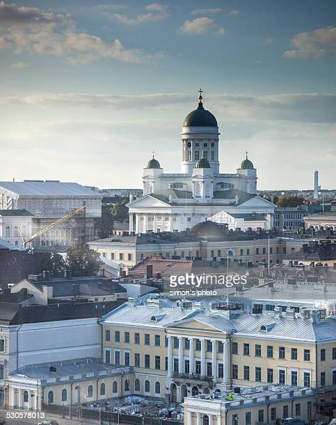 helsinki cathedral overlooking - helsinki stock pictures, royalty-free photos & images