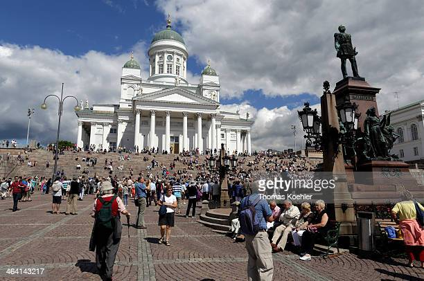 Helsinki Cathedral with a monument for Tsar Nicholas I of Russia on the Senate Square on June 29 in Helsinki Finland Photo by Thomas...