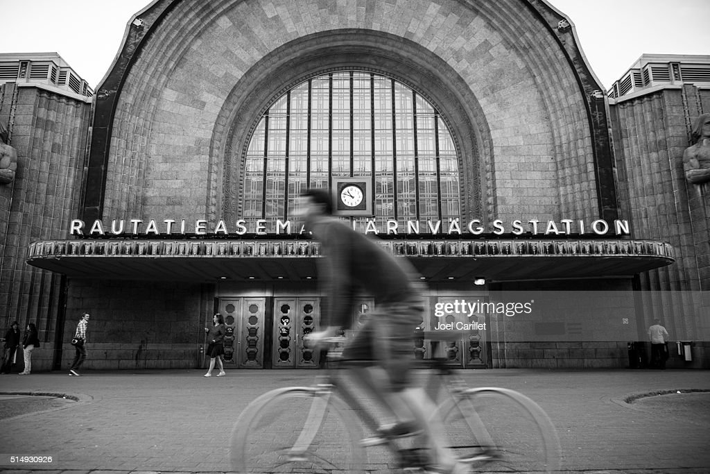Helsinki Central railway station in Finland : Stock Photo
