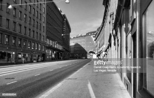 helsinki finland downtown buildings in black and white - black and white instant print stock pictures, royalty-free photos & images