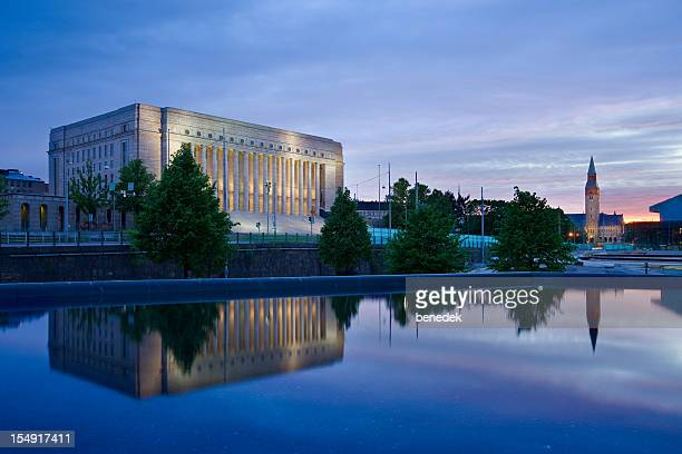 helsinki finland parliament of finland and the national museum - helsinki stockfoto's en -beelden