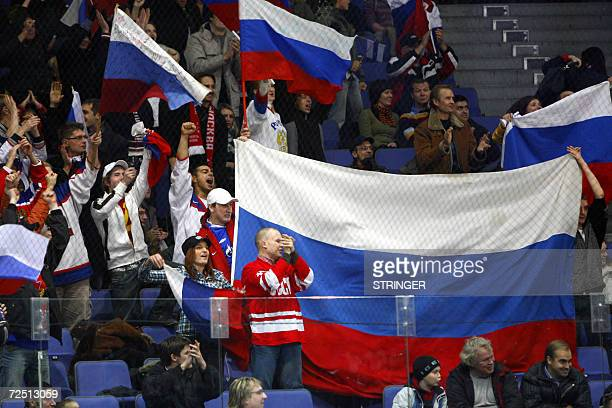Russian fans cheer during the Karjala Cup match Czech vs Russia in Helsinki 12 November 2006 LEHTIKUVA/HEIKKI SAUKKOMAA 2006