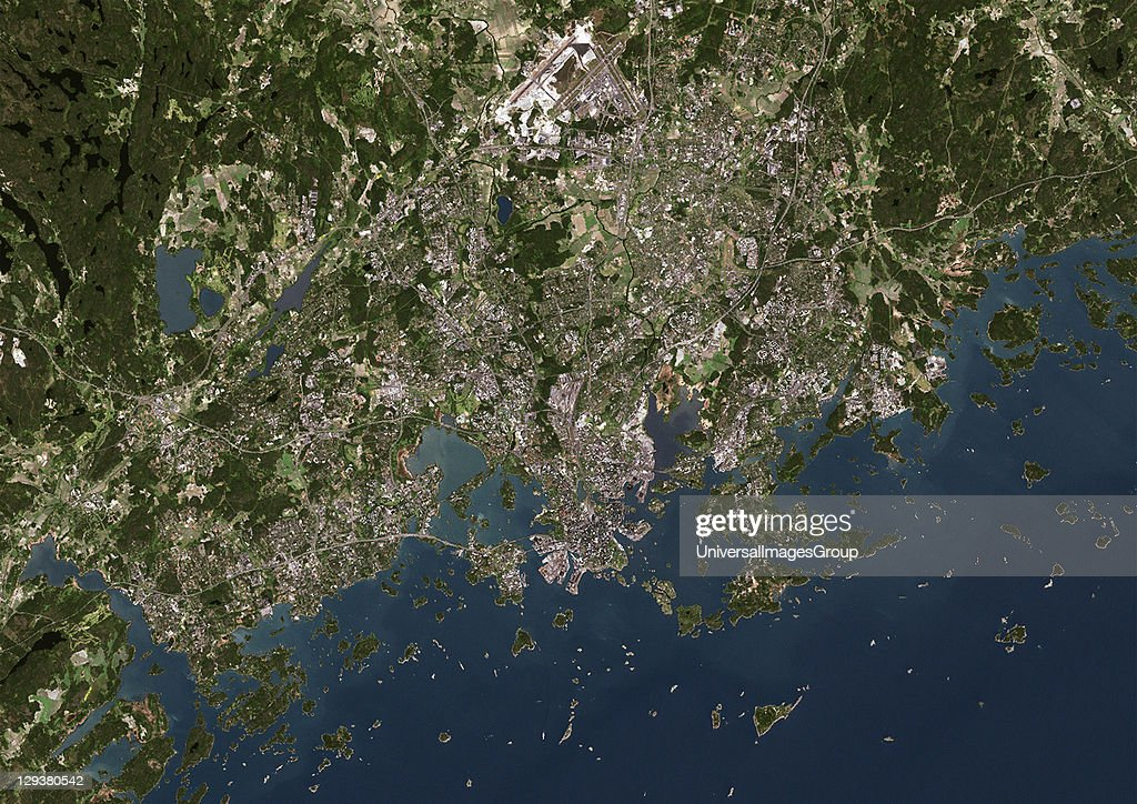 Helsinki, Finland. True colour satellite image of Helsinki, capital city of Finland. Image taken on 29 May 2002, using LANDSAT 7 data., Helsinki, Finland, True Colour Satellite Image