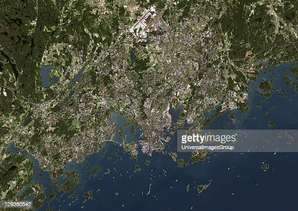 Helsinki Finland True colour satellite image of Helsinki capital city of Finland Image taken on 29 May 2002 using LANDSAT 7 data Helsinki Finland...