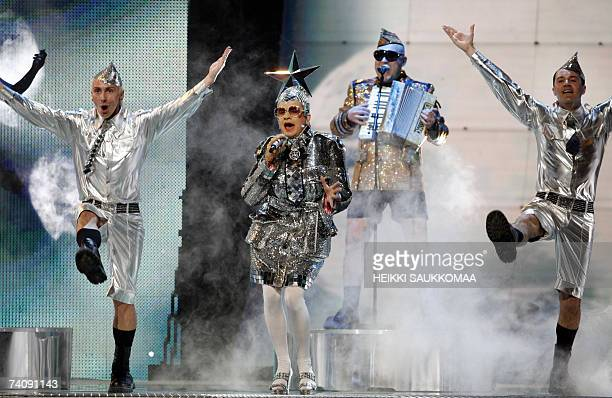 Verka Serduchka of Ukraine sings Dancing Lasha Tumbai during the finalists first rehearsal in the Eurovision song contest in Helsinki 07 May 2007 AFP...