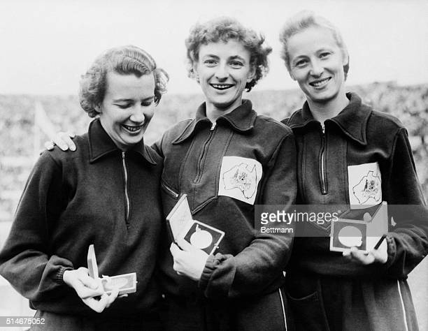 7/24/1952 Helsinki Finland Win women's 100 meter run Holding the Olympic medals they won in the women's 100meter dash of the Olympic games are Daphne...