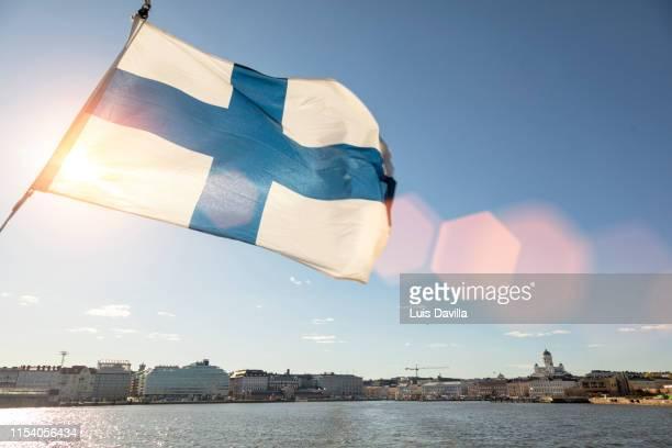 helsinki from the sea.  helsinki. finland - helsinki foto e immagini stock