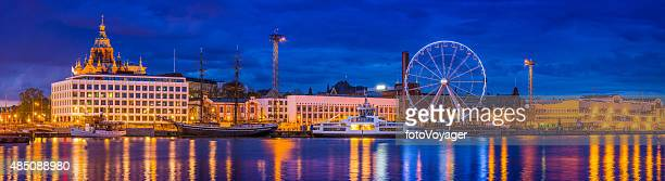 helsinki harbour waterfront panorama uspenski cathedral and ferris wheel finland - helsinki stockfoto's en -beelden