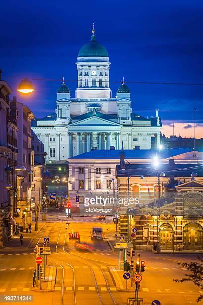 Helsinki iconic domes Helsinki Cathedral Market Square illuminated dusk Finland