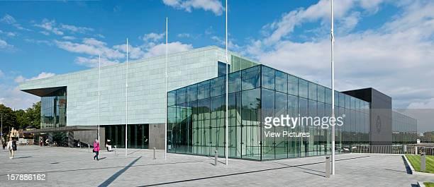 Helsinki Music Center Helsinki Finland Lpr Arkkitehdit Exterior Panoramic View Of Entance With Painted Copper Lpr Arkkitehdit Finland Architect