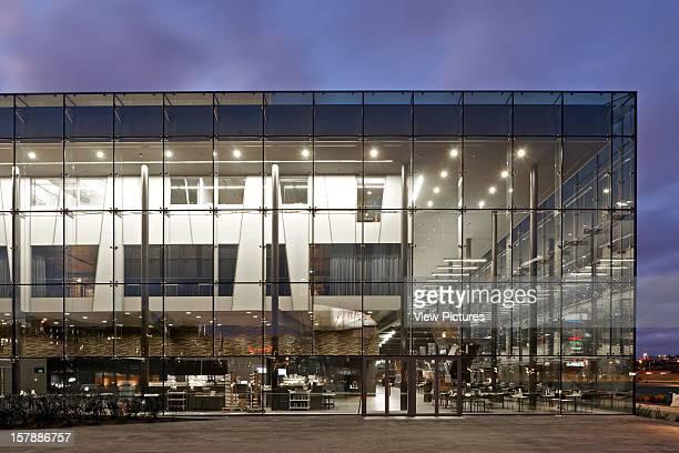 Helsinki Music Center Helsinki Finland Lpr Arkkitehdit View Of Frontal Elevation At Dusk Lpr Arkkitehdit Finland Architect