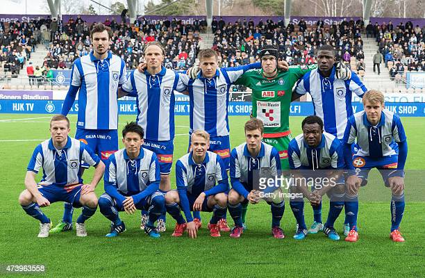 Helsinki players line up for the team photos prior to the Finnish First Division match between HJK Helsinki and FC Lahti at Sonera Stadium on April...