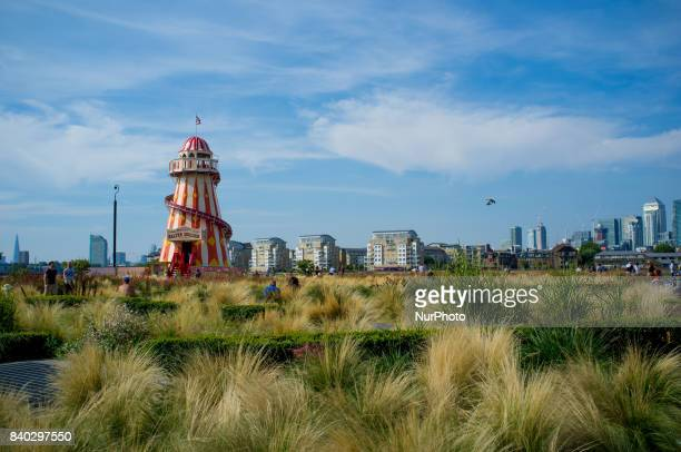 A Helter Skelter funfair is seen at Greenwich London on August 28 2017 The August Bank Holiday has seen sunny weather and hot temperature People...