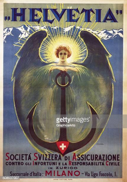 Helvetia poster by Umberto Boccioni lithograph Helvetia societa svizzera di assicurazione contro gli infortuni e la responsibilita civile Helvetia...