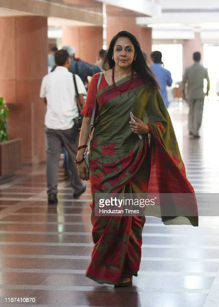 Hema Malini after the BJP parliamentary party meeting at Parliament House on July 23 2019 in New Delhi India The ongoing session of Parliament is...