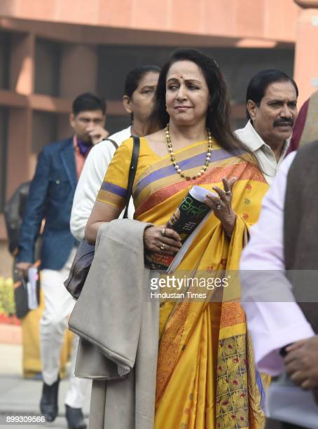 Hema Malini after the BJP Parliamentary Party meeting during the ongoing Winter Session of Parliament at Parliament Library on December 28 2017 in...