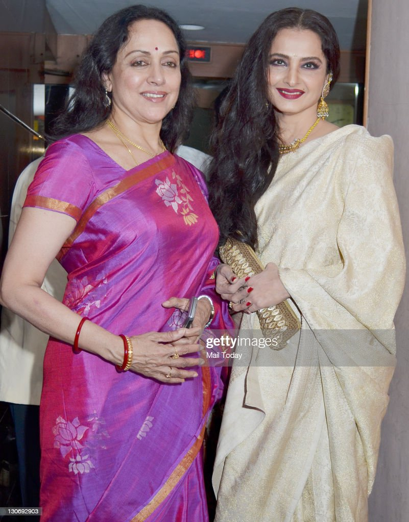 Hema Malini and Rekha at the special screening of film ``Tell Me O Khuda`` at ketnav in Mumbai on 25 October 2011