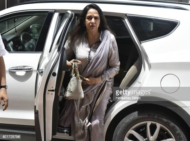 Hema Malini arrives at the Parliament building during the Monsoon Session at Parliament House on July 24 2017 in New Delhi India