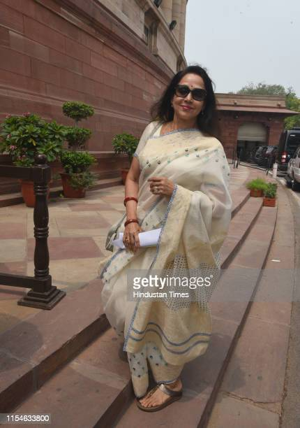 Hema Malini arrives to attend the Budget Session on July 8 2019 in New Delhi India