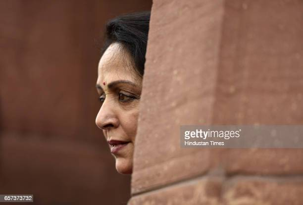 Hema Malini at Parliament during the Budget Session on March 24 2017 in New Delhi India
