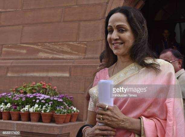 Hema Malini at Parliament during the second leg of budget session on March 14 2017 in New Delhi India