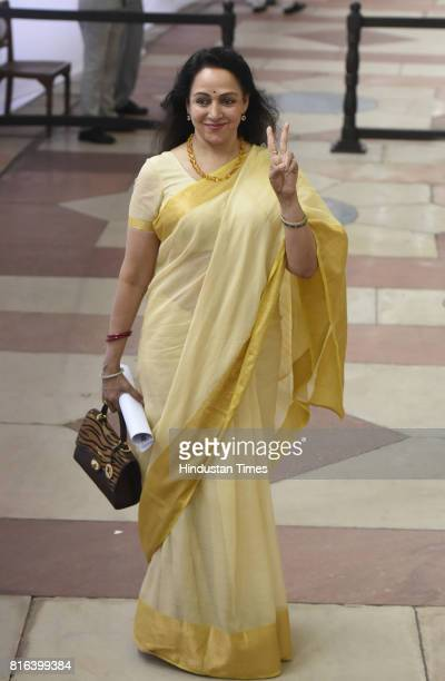 Hema Malini before casting her vote during the presidential election at the Parliament House on July 17 2017 in New Delhi India Approx 99% voting was...