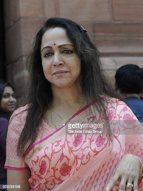 Hema Malini during the start of second part of the Budget session at Parliament in New Delhi