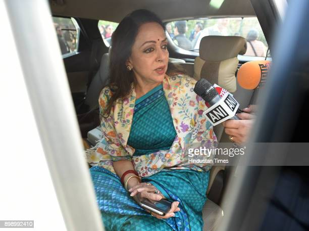 Hema malini Lok Sabha MP from Mathura talking with media person after attending Parliament Winter Session on December 27 2017 in New Delhi India...