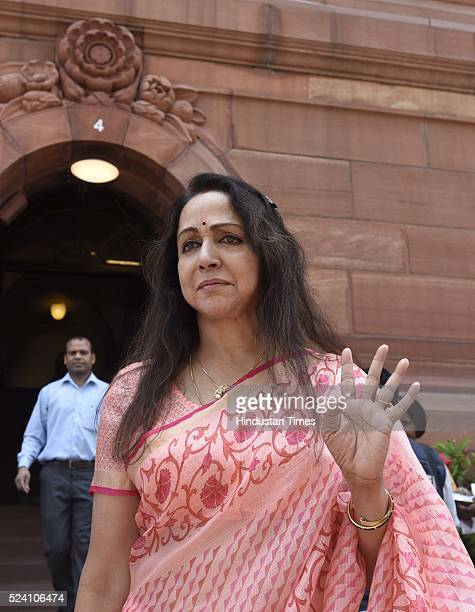 Hema Malini Member of Parliament from Mathura UP after attending the first day of the second half of the budget session at the Parliament House on...