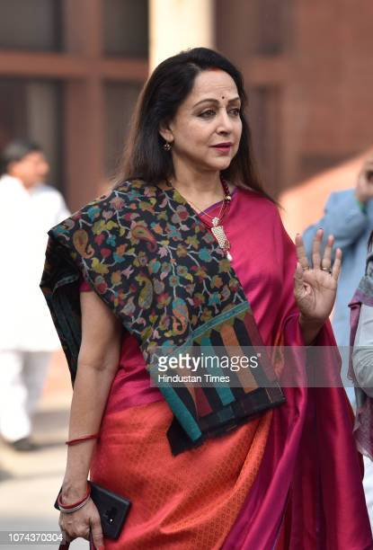 Hema Malini seen during the winter session in Parliament on December 18 2018 in New Delhi India Lok Sabha proceedings lasted barely for an hour as...