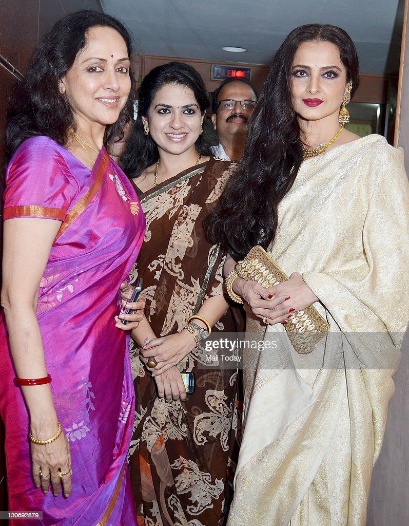 Hema Malini Shaina NC and Rekha at the special screening of film ``Tell Me O Khuda`` at ketnav in Mumbai on 25 October 2011