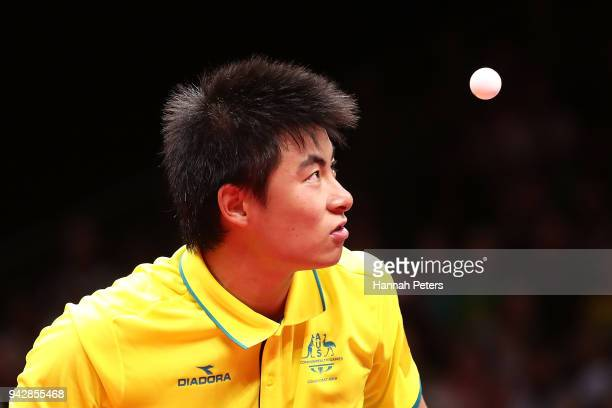 Heming Hu of Australia serves during his quarterfinal Table Tennis match against Bode Abiodun of Nigeria on day three of the Gold Coast 2018...