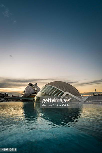 Hemisfèric and the Palace of Arts Reina Sofía are two of the most well known buildings of the City of Arts and Sciences , Valencia, Spain.