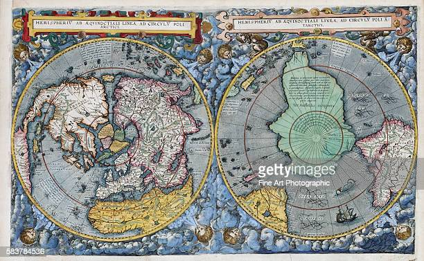 Hemispherius ab Aeqinoctiali Linea Poli Artici 17thCentury Dutch Map