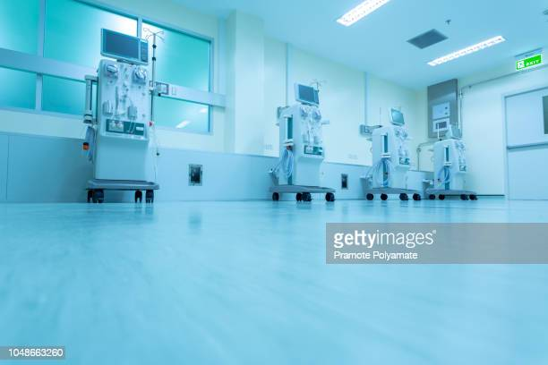 hemodialysis machines with tubing and installations. health care, blood purification, kidney failure, transplantation, medical equipment concept. - dialysis stock pictures, royalty-free photos & images
