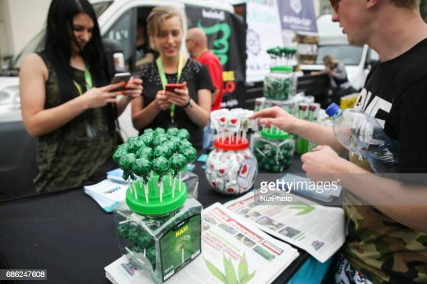 Hemp lollipops are sold during demonstration to demand the legalization of marijuana in Krakow Poland on 20 May 2017