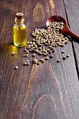 hemp oil little bottle seeds wooden