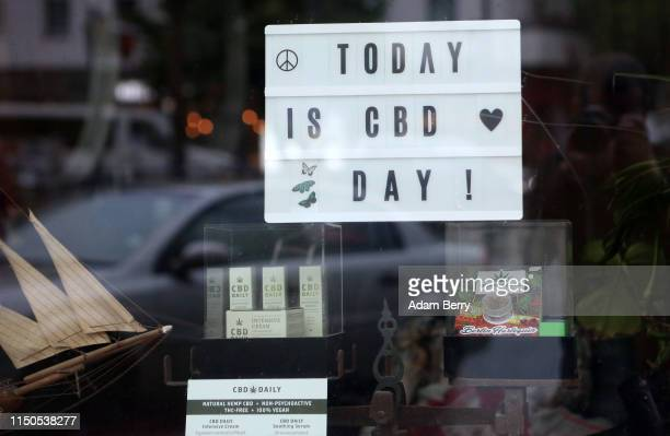 hemp oil products are seen for sale in a shop window on May 20 2019 in Berlin Germany The European CBD hemp oil market surged from 1241 million...