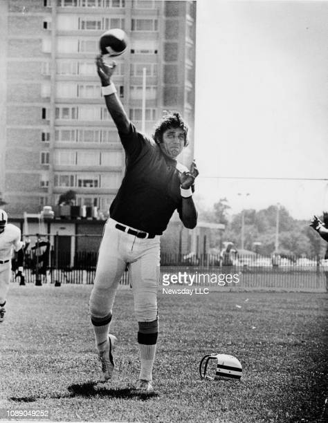 Joe Namath gets ready to release the ball during a drill today at Jets practice at Hofstra University in Hempstead New York on July 24 1972